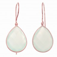 """Sterling Silver Rose Finish Shiny Teardrop Earring with Acqua Chalcedony-Checke R """" Collection"""""""