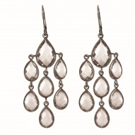 """Sterling Silver with Black Finish Shiny Fancy Drop Earring with 20-Oval Shape Ro Ck Crystal """" Stone Collection"""""""