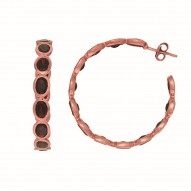 Sterling Silver with 0.5 Micron Rose Gold Finish with E-Coating Earring with 15.70Ct Garnet