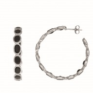 Sterling Silver with White Rhodium Finish Earring with 10.60Ct Black Onyx