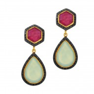Silver with Yellow Finish Pear Checker Aqua Chalcedony Hexagon Ruby Surround Ed with Black Spinel Drop Earring with Butterfuly Clasp