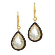 Silver with Yellow Finish Pear Clear Crystal Surround Ed with Black Spinel Drop Earring with Lever Back Clasp