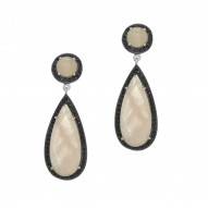 Silver with Rhodium Finish Pear Round Rose Quartz Surround Ed with Black Spinel Drop Earring with Butterfly Clasp