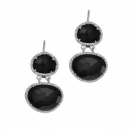 Silver with Rhodium Finish 10.9X9.2mm Black Onyx Double Drop Leverback Drop Earring Ztrimmed with 0.15Ct.White Diamond