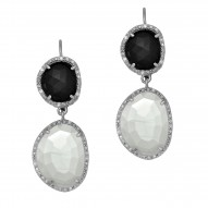 Silver with Rhodium Finish 10.9X9.2mm Black Onyx Moonstone Leverback Drop Earring with 0.15Ct.White Diamond
