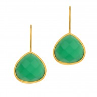 "Silver with Yellow Finish Shiny 15.7X28mm Green On Yx Teardrop Earring with ""J"" Hook"