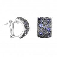Silver with Rhodium Black Rhodium Finish 16.6X11mm Shiny Iolite Half Moon Type Fancy Omegaback Earri Ng