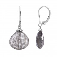 Silver with Black Rhodium Finish Shiny 15mm Facete d Black Rutile Teardrop Fancy Leverback Earring