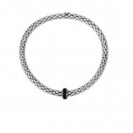 Silver with Rhodium Black Rhodium Finish 8-4.5mm S Hiny Stretchable Popcorn Bracelet with 2mm Round C Ut Semiprecious 0.4Ct.Black Spinel Barrel Element
