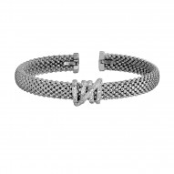 Silver with Rhodium Finish 8mm Popcorn Textured Do med Cuff Bangle with Coil Center Element with 0.13ct. Diamond