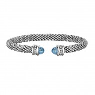 Silver Rhodium Finish Shiny 6.6mm Popcorn Cuff Bangle with Semi-Precious Blue Topaz Surrounded with 0.14ct.Diamonds