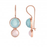 Silver with Pink Finish Shiny Drop Earring with Eu ro Wire Clasp with Aqua Chalcedony-Checker Cut
