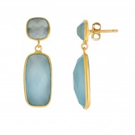 Silver with Yellow Finish Shiny Drop Earring with Push Back Clasp with Aqua Chalcedony-Checker
