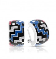 Pixel Black, Red, & Blue Earrings