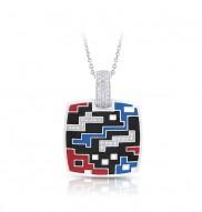 Pixel Black, Red, & Blue Pendant