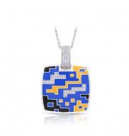 Pixel Blue & Yellow Pendant