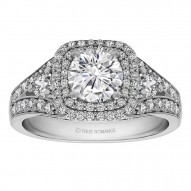 Round Cut Double Halo Diamond Vintage Engagement Ring