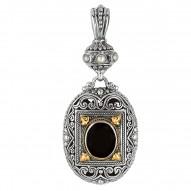 "18Kt Yellow Gold Sterling Silver Oxidized Oval Black Onyx Byza Ntine Pendant. Timeless ""Byzantine"" Collection."