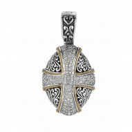 """18Kt Yellow Gold Sterling Silver Oxidized White Sapphire Cross Theme Pendant. Timeless """"Byzantine"""" Collection."""