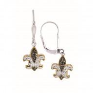 """18Kt Yellow Gold Sterling Silver Black White Sapphire Fleur De Lis Leverback Earring. """"Fleur-De-Lis"""" Collection."""