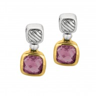 18Kt Yellow Gold Sterling Silver Oxidized Amethyst Drop Earrin G.