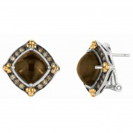 """18Kt Yellow Gold Sterling Silver Smokey Quartz Coffee Diamonds Omega Back Earring. Next Generation Of """"Rock Candy"""" Collection."""