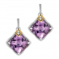 """0.04Ct. Diamond Amethyst 18Kt Yellow Gold Sterling Silver Rock Candy Drop Earring. Next Generation Of """"Rock Candy"""" Collection."""
