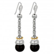 """18Kt Yellow Gold Sterling Silver Black Onyx Drop Popcorn Earri Ng. """"Popcorn"""" Collection."""