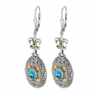 "18Kt Yellow Gold Sterling Silver Oxidized Oval Blue Topaz Flue R De Lis-Byzantine Drop Drop Earring. Timeless ""Byzantine"" Colle Ction."