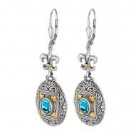 "18Kt Yellow Gold Sterling Silver Oxidized Oval Blue Topaz Flue R De Lis-Byzantine Drop Drop Earring. Timeless ""Byzantine"" Colle Ction."