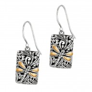 """18Kt Yellow Gold Sterling Silver Oxidized Dragonfly Long Rectan Gular Drop Earring. Featuring """"Dragonfly"""" Collection."""