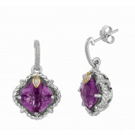 "0.02Ct Diamond Amethyst 18Kt Yellow Gold Sterling Silver Drop Earring. Next Generation Of ""Rock Candy"" Collection."