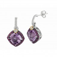 """0.44Ct. Diamond Pink Amethyst Rhodalite 18Kt Yellow Gold St Erling Silver Rock Candy Earring. Next Generation Of """"Rock Candy """" Collection."""