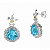 """0.17Ct Diamond Blue Topaz 18Kt Yellow Gold Sterling Silver Dro P Earring. Next Generation Of """"Rock Candy"""" Collection."""