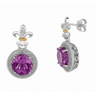 """0.17Ct Diamond Amethyst 18Kt Yellow Gold Sterling Silver Drop Earring. Next Generation Of """"Rock Candy"""" Collection."""