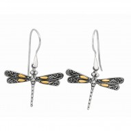 """18Kt Yellow Gold Sterling Silver Oxidized Single Dragonfly Drop Earring. Featuring """"Dragonfly"""" Collection."""