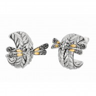 """18Kt Yellow Gold Sterling Silver Oxidized Dragonfly Semi-Round Post Earring. Featuring """"Dragonfly"""" Collection."""