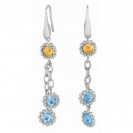 18Kt Yellow Gold Sterling Silver Blue Topaz Double Strand Ita Lian Cable Drop Earring.