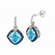 """0.44Ct. Diamond Blue Topaz Iolite 18Kt Yellow Gold Sterling Sil Ver Rock Candy Earring. Next Generation Of """"Rock Candy"""" Collecti On."""