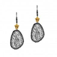 18Kt Yellow Gold Sterling Silver Briollette Black Rutil Quartz Black Spinel Drop Earring
