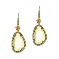 18Kt Yellow Gold Sterling Silver Briollettegreen Amethyst Peridot Drop Earring