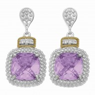 """18Kt Yellow Gold Silver with Rhodium Finish Drop Earring with 2-10.0 Square Amethyst 6-0.01Ct Faceted White Diamond """"Philip Gavriel Collection"""