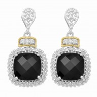 """18Kt Yellow Gold Silver with Rhodium Finish Drop Earring with 2-10.0 Square Black Onyx 6-0.01Ct Faceted White Diamond """"Philip Gavriel Collection"""