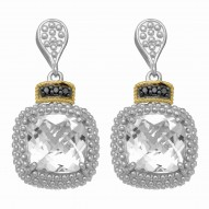 """18Kt Yellow Gold Silver with Rhodium Blk Finish Drop Earring with 2-10.0 Sq. Rock Crystal 6- 0.01Ct Faceted Blk Diamond """"Philip Gavriel Collec"""