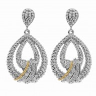 """18Kt Yellow Gold Silver with Rhodium Finish Fancy Teardrop Earring with 24-0. 01Ct Faceted White Diamond """"Philip Gavriel Collection"""