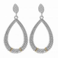 """18Kt Yellow Gold Silver with Rhodium Finish Fancy Teardrop Earring with 14-0.0 1Ct Faceted White Diamond """"Philip Gavriel Collection"""