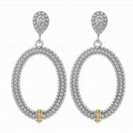 """18Kt Yellow Gold Silver with Rhodium Finish Shiny Fancy Open Oval Drop Earri Ng """"Philip Gavriel Collection"""