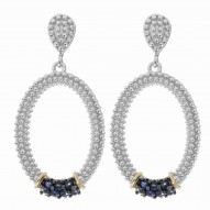 """18Kt Yellow Gold Silver with Rhodium Black Rhodium Finish Finish Fancy Open Oval Drop Earring with 14-2.0 Round Blue Sapphire """"Philip Gavriel Collection"""