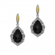 18Kt Yellow Gold Silver with Rhodium Finish Fancy 2-15X 10mm Teardrop Ps Dome Ck Flat Bottom Black Onyx Dr Op Earring On Post Butterfly Clasp Trimmed with 24