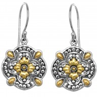 18Kt Yellow Gold Silver with Rhodium Finish 20mm Shiny Small Yg Flower On Flat Flower Like Dangle Earring with Leverback